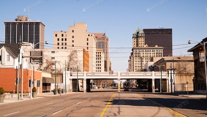 Lonely Sunday Morning Desolate Street Downtown City Skyline Dayton Ohio