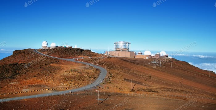 View of observatories from summit of Haleakala volcano