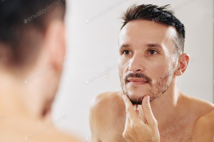 Man growing out beard