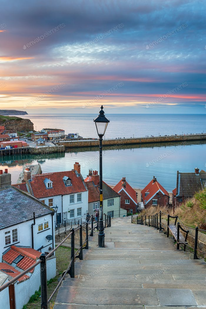 The 199 Steps at Whitby in Yorkshire