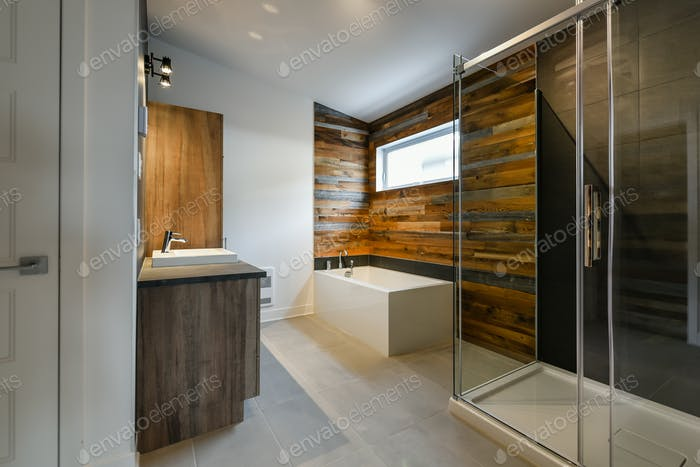 Modern bathroom with barn wood general view