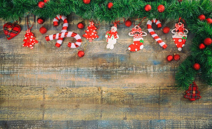 Christmas decoration on a wooden board, copy space