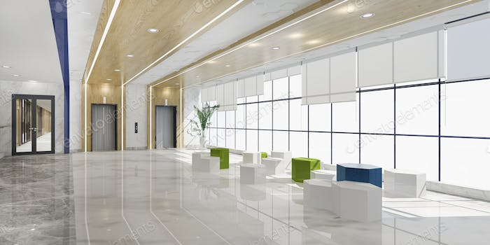 3d rendering modern luxury hotel and office reception and lounge with  sofa near lift corridor