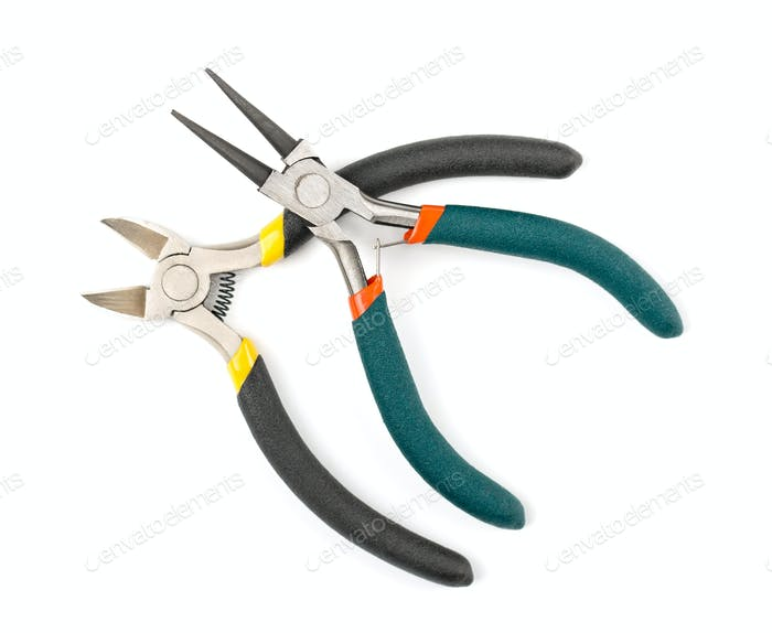 Round-pliers and nippers on white