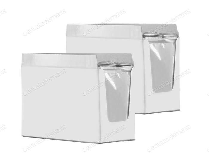 close up of a white boxes on white background