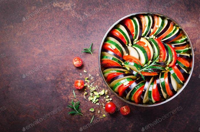 Ratatouille. Traditional homemade vegetable dish. Vegetarian vegan food. Copy space. Banner