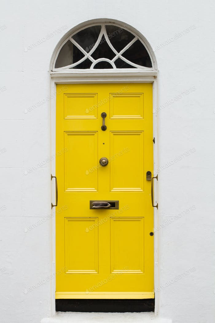 yellow elegant residential apartment door