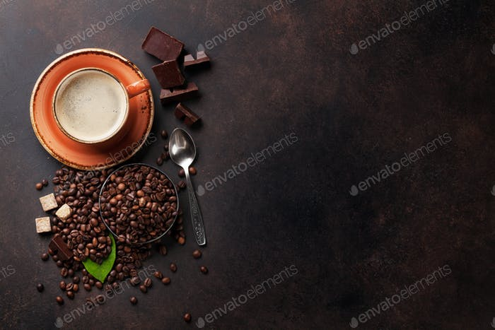 Kaffeetasse, Bohnen, Schokolade
