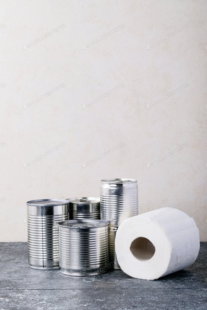 Nourriture en conserve dans des boîtes métalliques