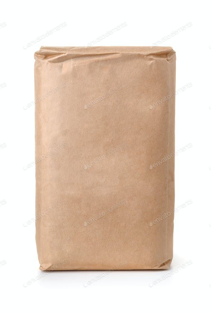 Front view of blank brown paper bag