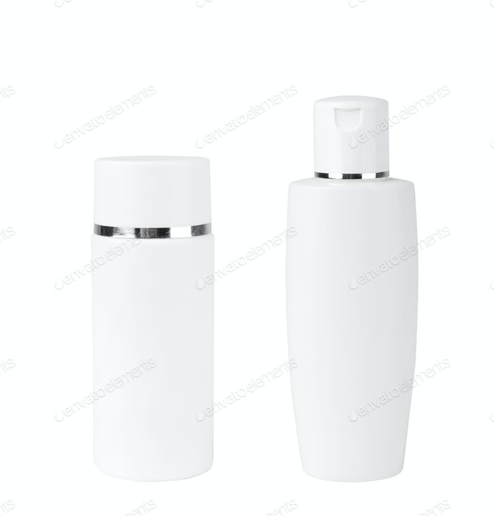 Blank Two Plastic Bottle On White Background