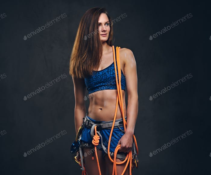 Studio portrait of female free clamber.