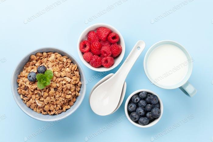 Gesundes Frühstück mit Müsli und Beeren