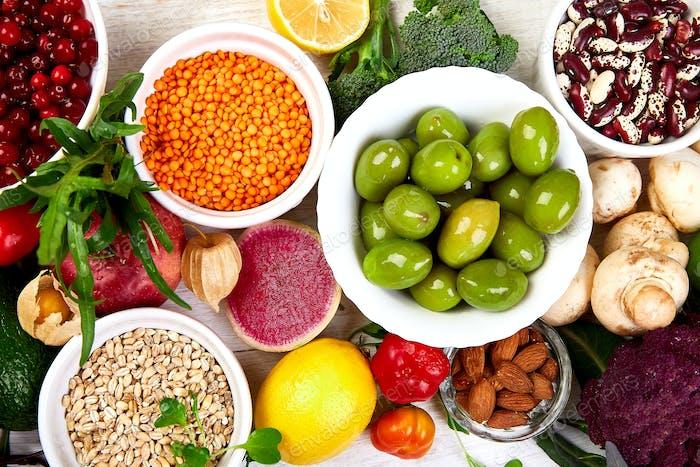 Healthy food selection, clean eating. Fruit, vegetable, seeds