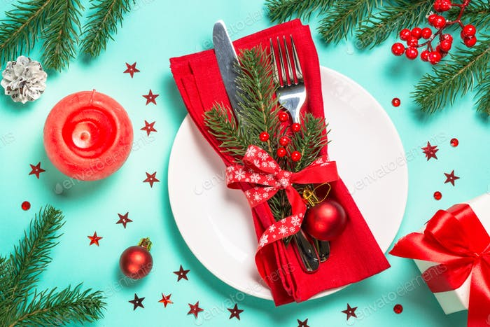 Christmas table setting with decorations top view
