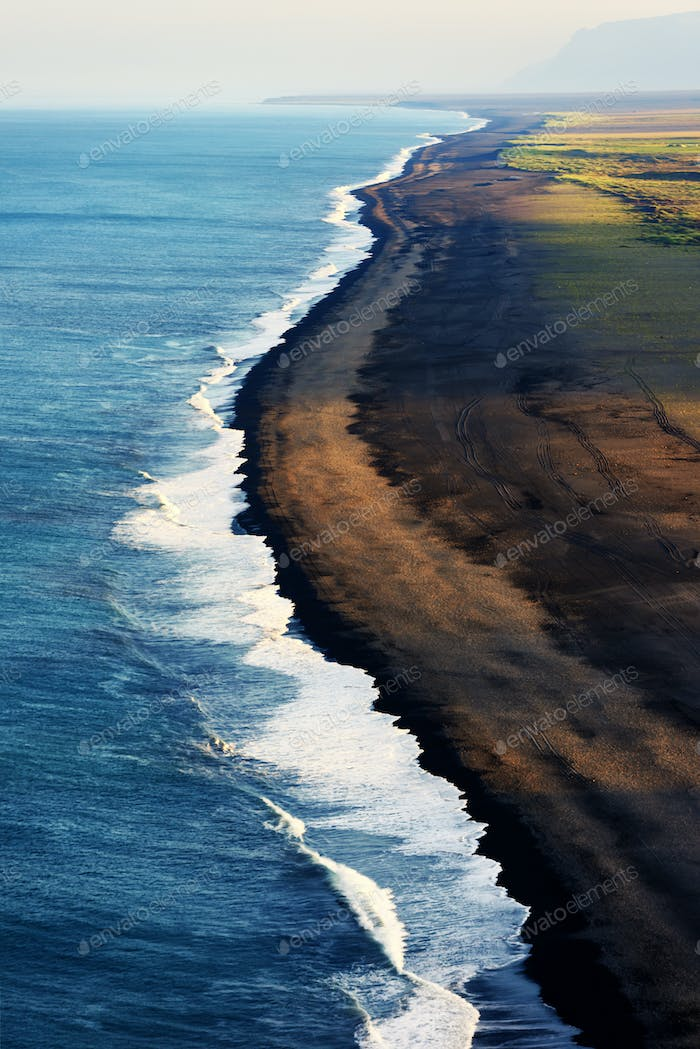 Black beach and Atlantic ocean