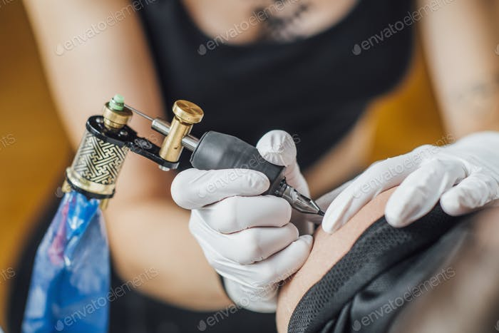 Tattooing Process in a Tattoo Studio