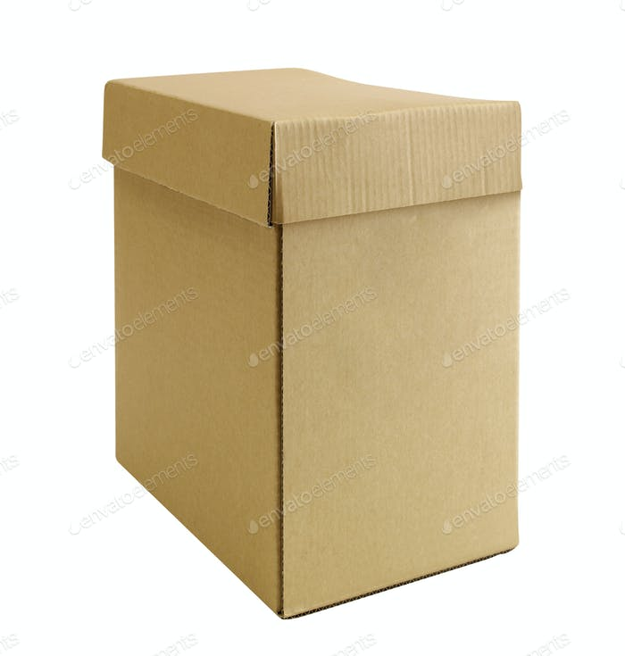 Closed cardboard box isolated