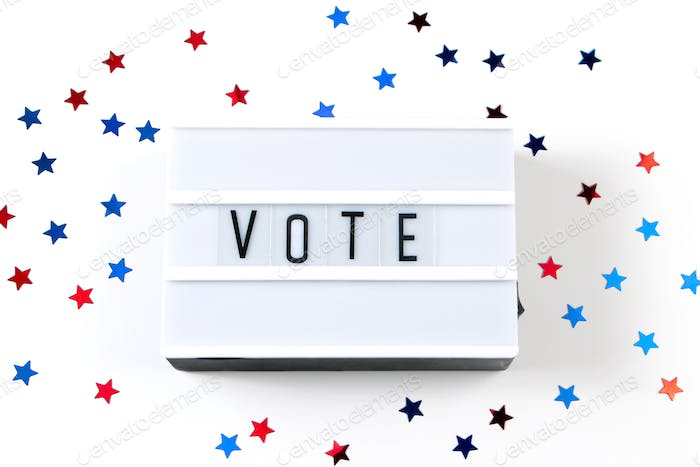 """Voting concept. The word """"vote"""" on white background."""