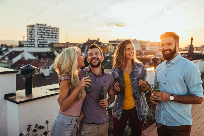 Rooftop celebration with the friends