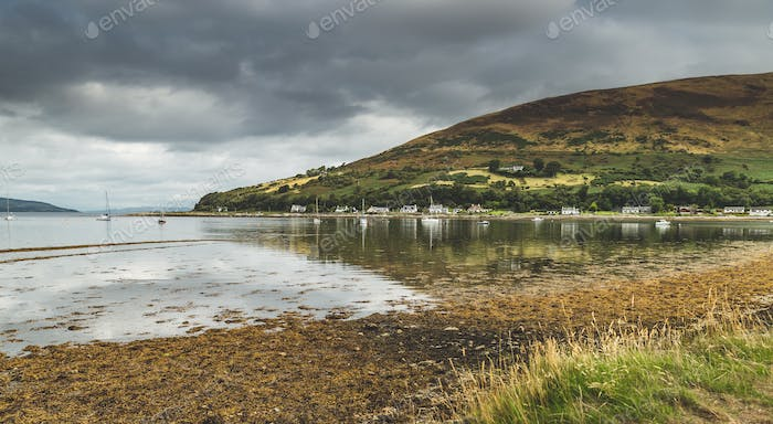 Panoramic view of the Arran island bay. Scotland