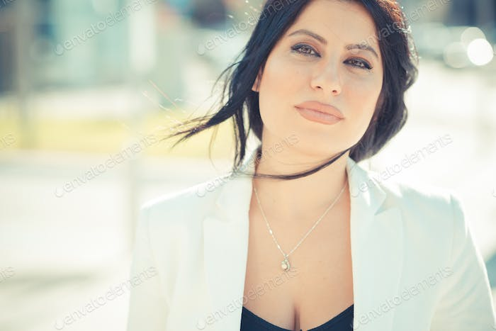 beautiful long black hair elegant business woman