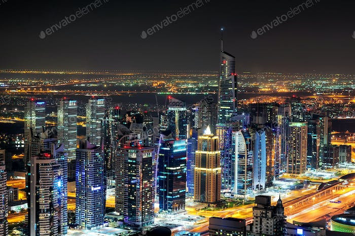 Colorful dubai marina skyline during night. Dubai marina, United Arab Emirates.