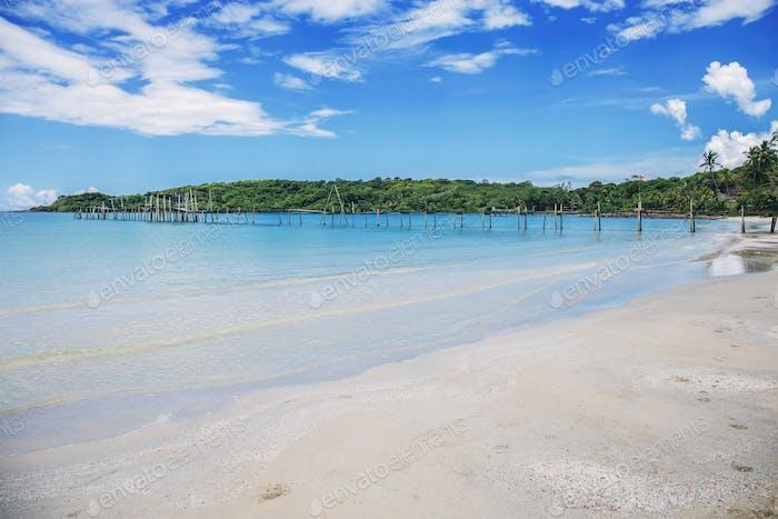 Sand beach with blue sky