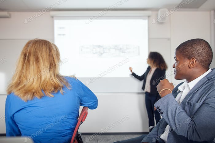 Architect giving presentation at business meeting