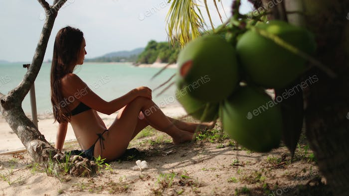 carefree woman sitting under palm at shoreline