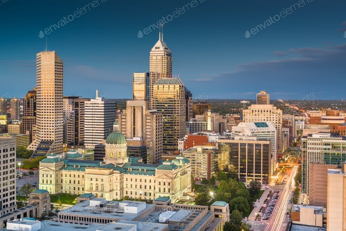 Indianapolis, Indiana, USA downtown skyline at twilight from abo
