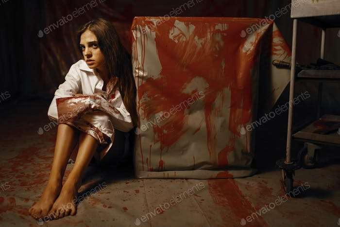 Young female victim in mental hospital basement