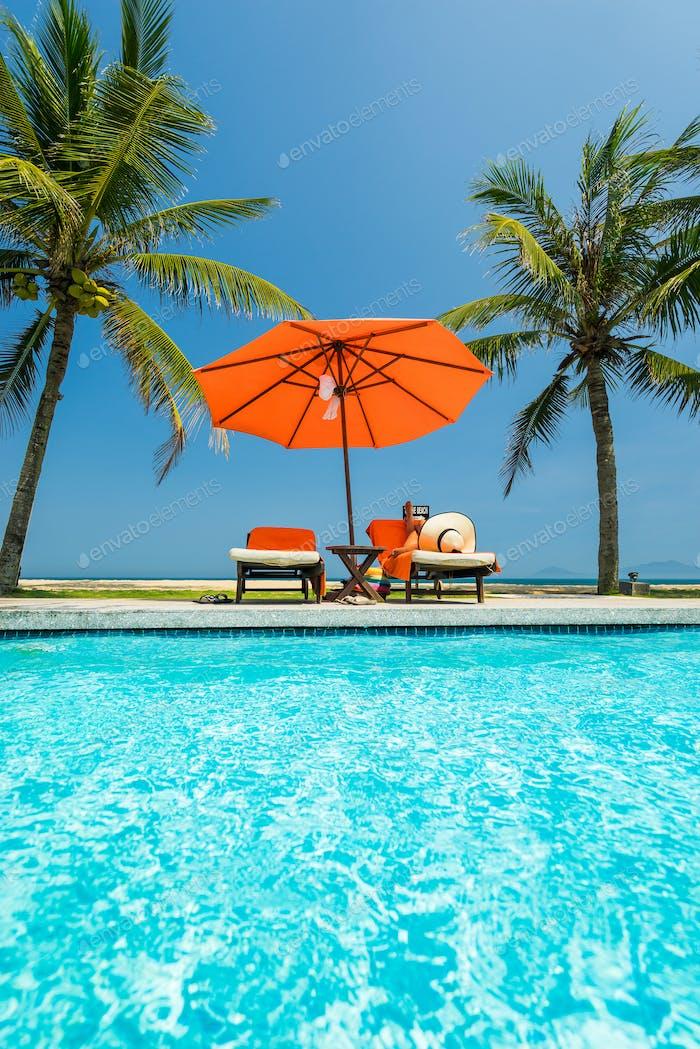 woman in luxury spa resort  swimming pool.