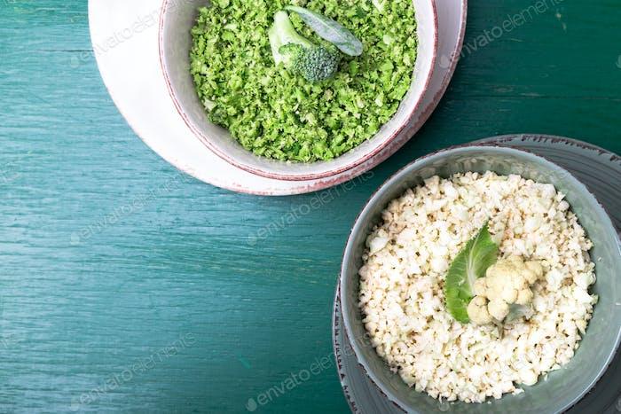 Cauliflower rice and broccoli rice in bowl