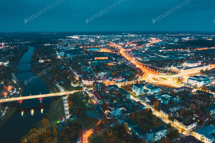 Grodno, Belarus. Aerial Bird's-eye View Of Hrodna Cityscape Skyline. Night Traffic In