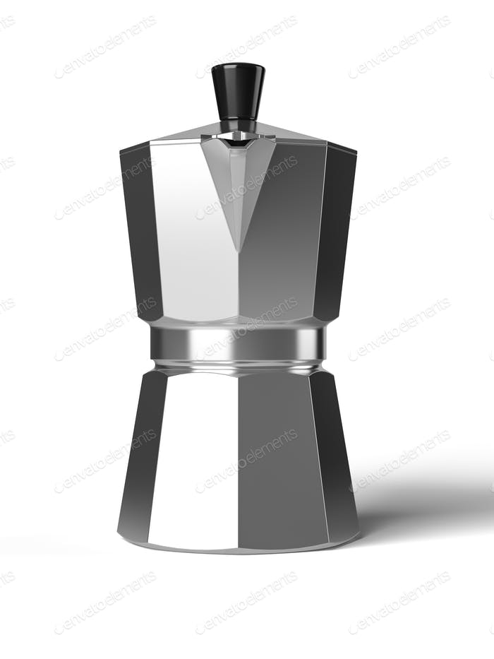 Vintage coffee pot isolated on a white background 3D rendering