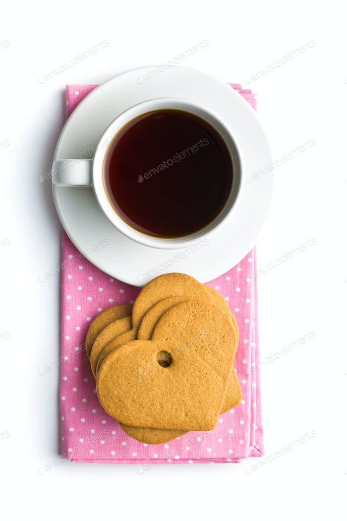 Gingerbread hearts and cup of coffee.