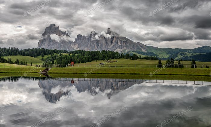 Cloudy day in the Dolomites mountains