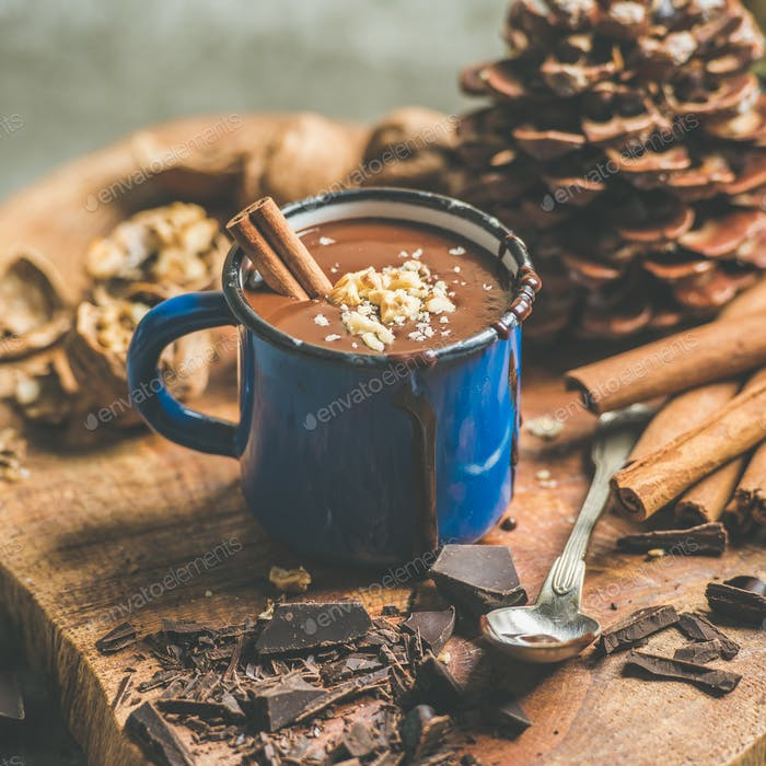 Rich winter hot chocolate with cinnamon and walnuts, square crop