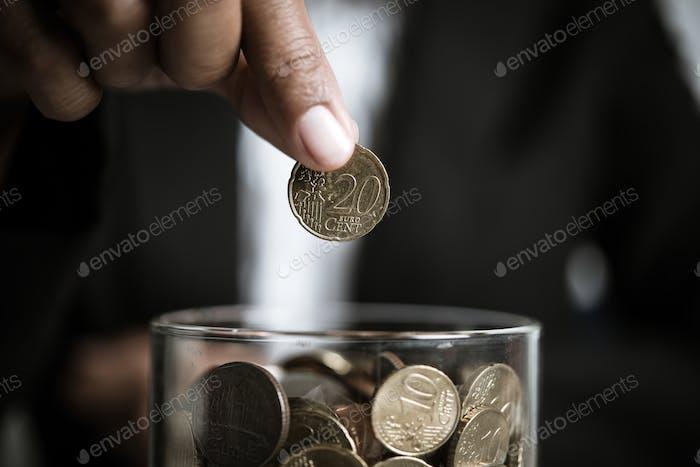 Geschäftsmann Giving Geld Spende Charity Concept