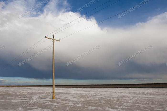 45804,Telephone pole in remote landscape, West Desert, Utah, United States