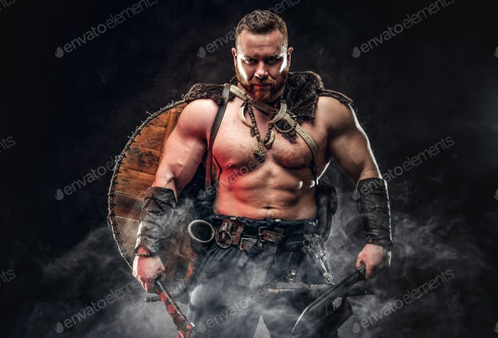 Severe barbarian in warrior clothes