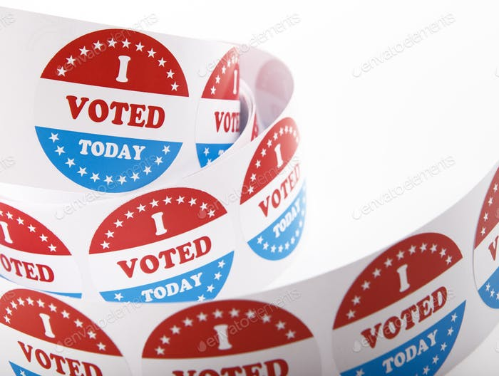 Vote political election stickers with patriotic American Stars