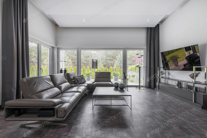 Big window in trendy grey living room interior of suburban house