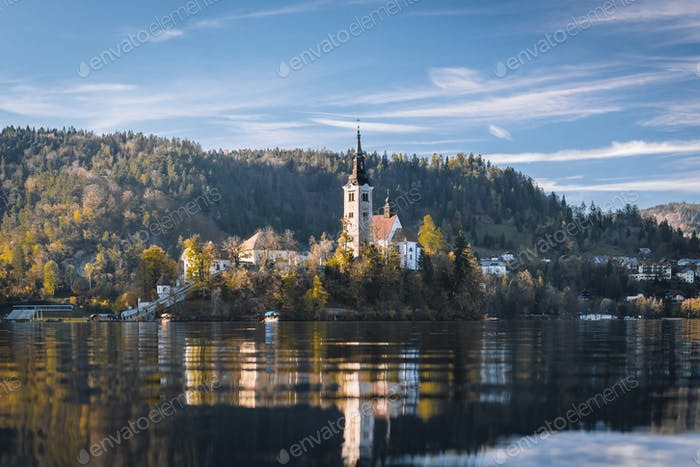 Lake Bled in the Alpine mountains