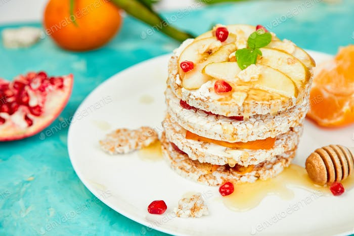 Vegan, diet, organic natural birthday cake with rice crisp