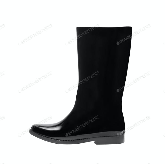 Black gum boots on white background