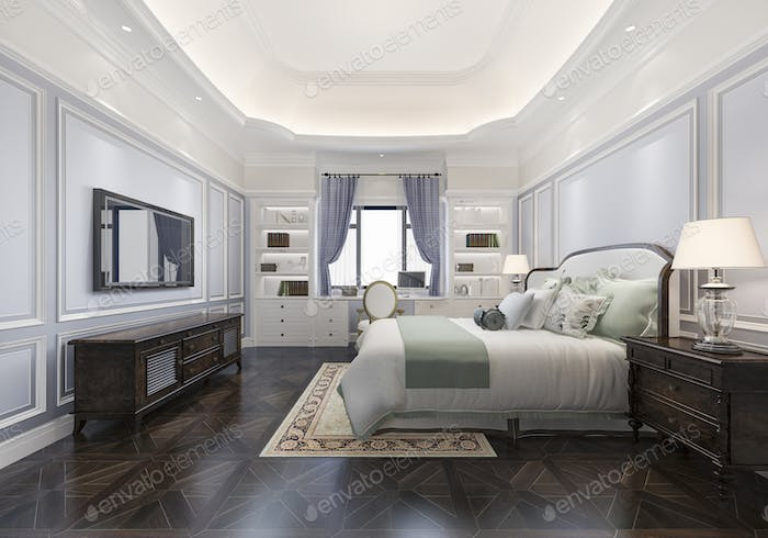 classic luxury blue bedroom suite in hotel with tv and working table with european style