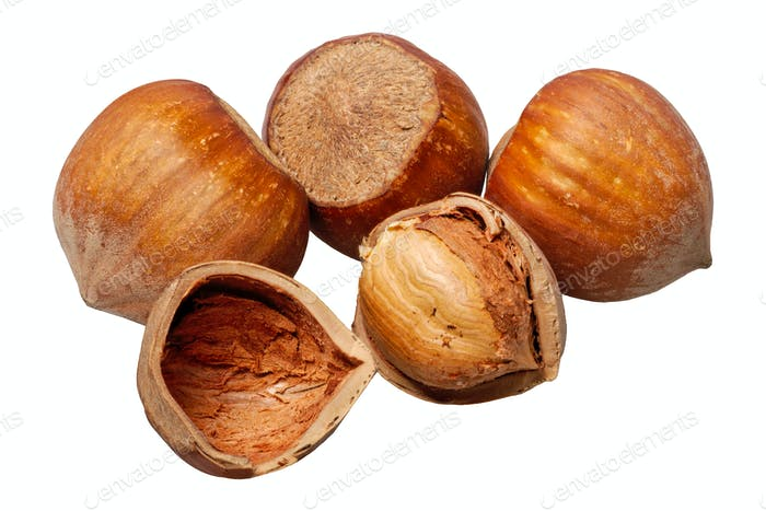 Group of nuts on a white background