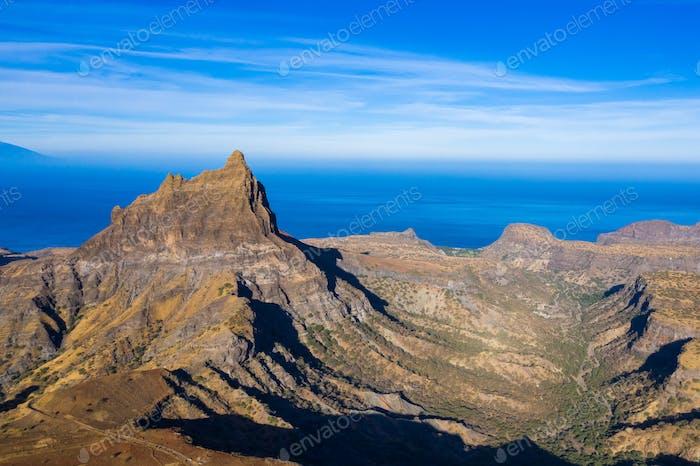 Aerial view of Brianda mount in Rebeirao Manuel in Santiago island in Cape Verde - Cabo Verde